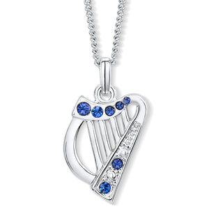 Harp Pendant with Sapphire Crystals