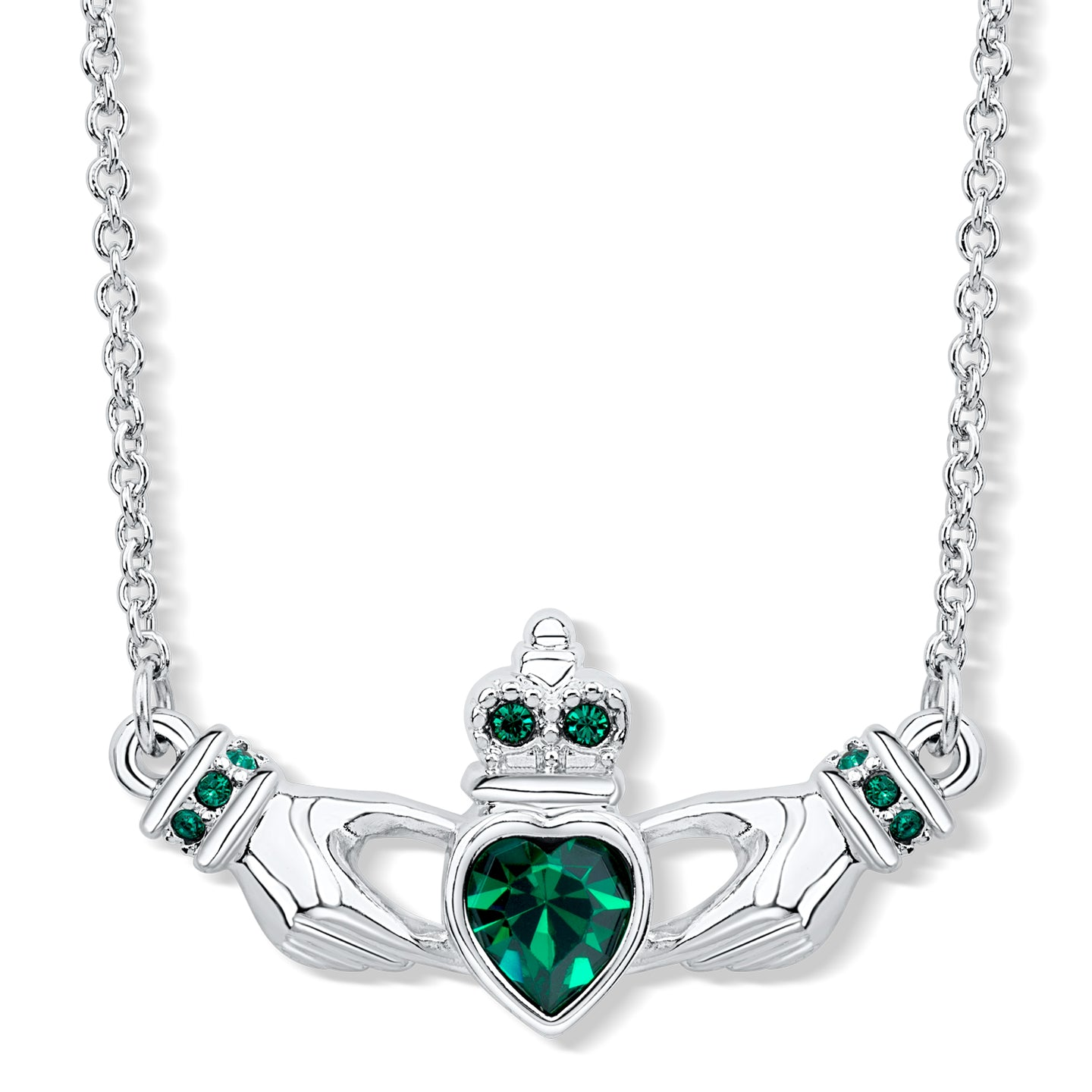 Claddagh Necklace with Emerald Crystals