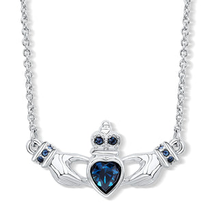 Claddagh Necklace with Blue Crystals