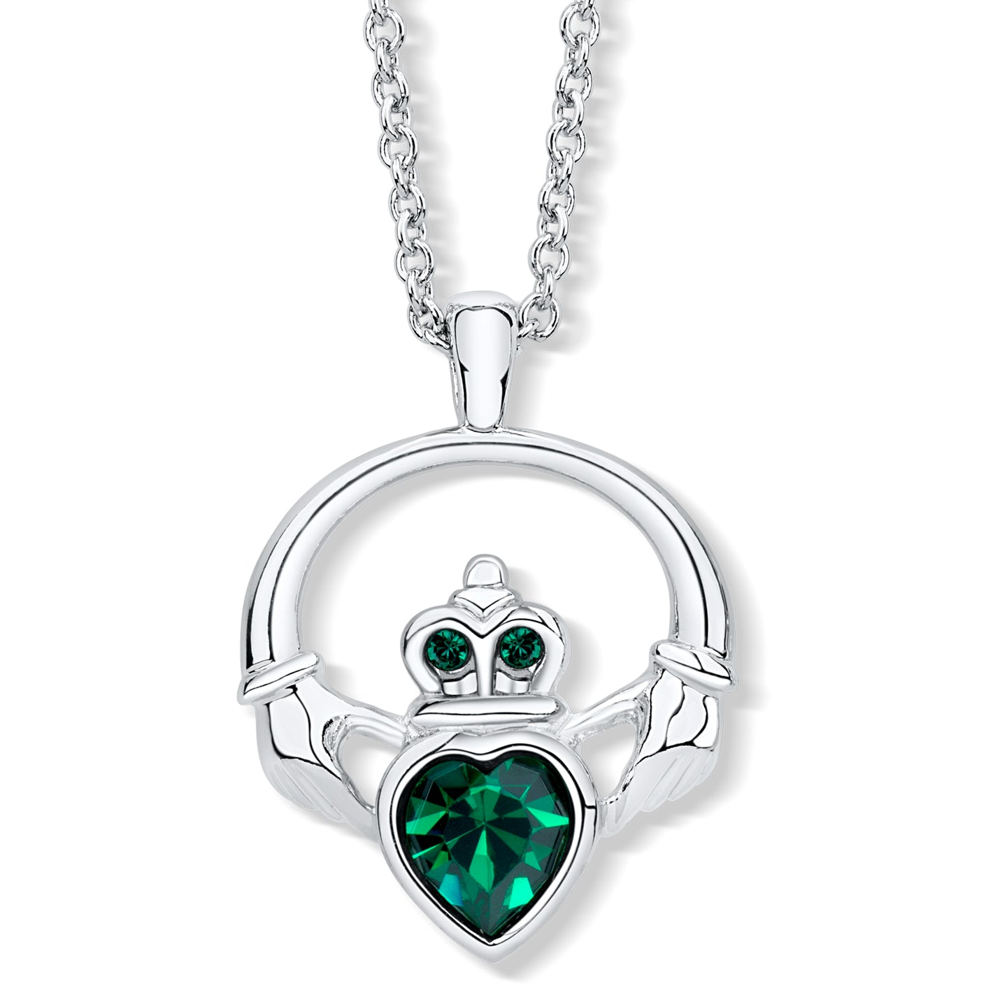 Claddagh Ring Pendant set with Emerald Crystal