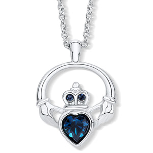 Claddagh Ring Pendant set with Blue Crystal