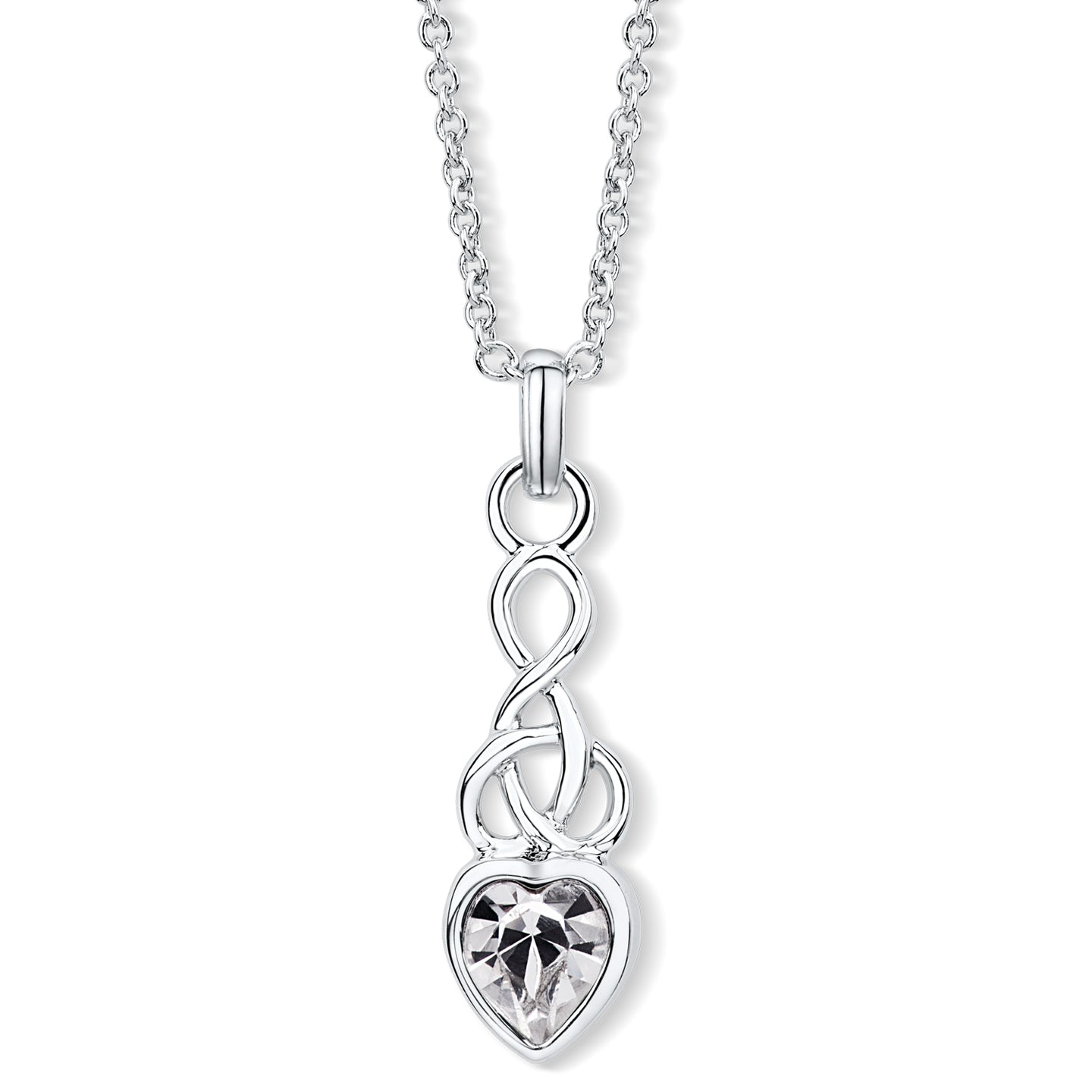 Celtic Heart Pendant with Clear Crystal