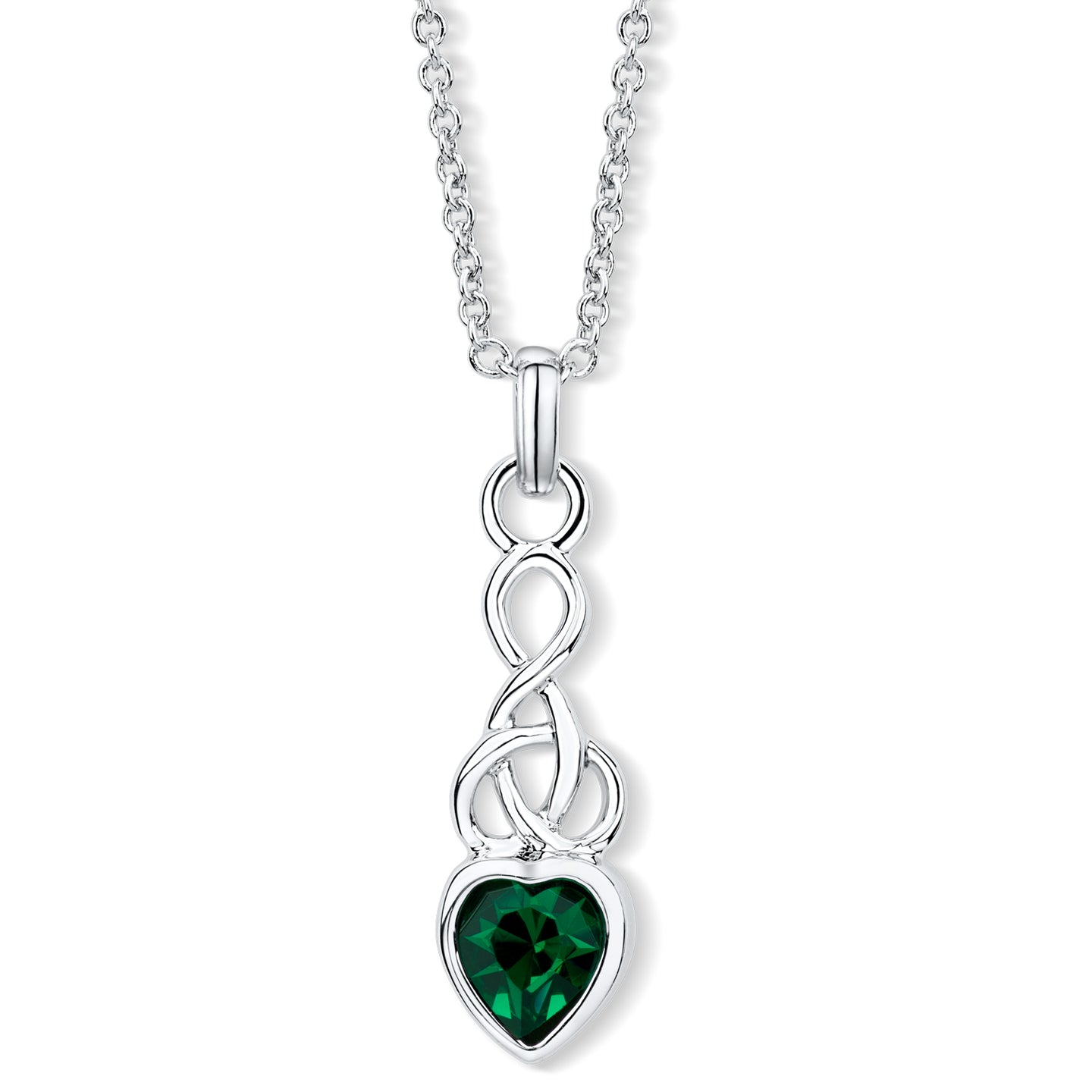 Celtic Heart Pendant with Emerald Crystal