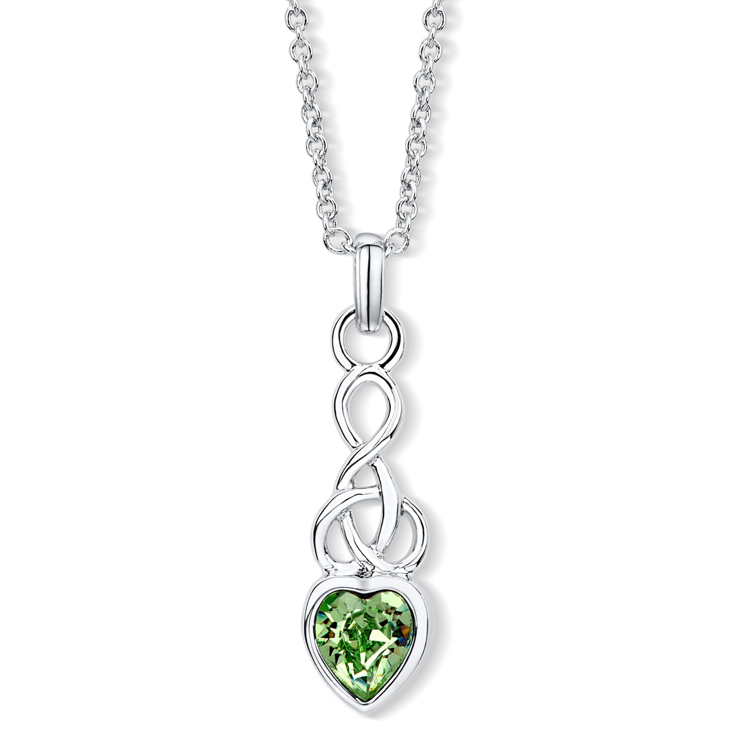 Celtic Heart Pendant with Peridot Crystal
