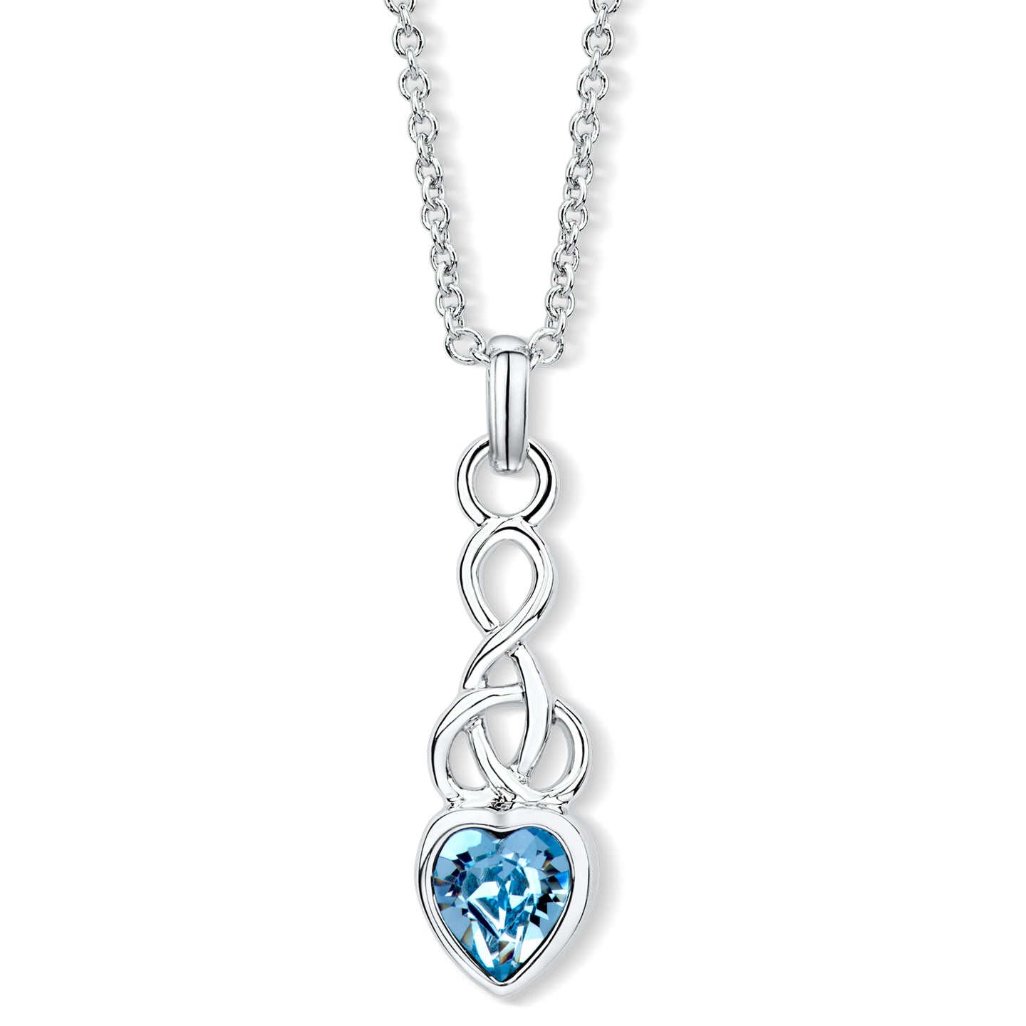 Celtic Heart Pendant with Aquamarine Crystal