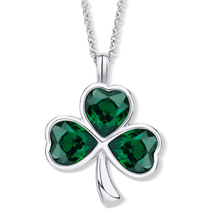 Shamrock Pendant with Emerald Green Crystal