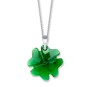 Emerald Crystal Four-leaved Clover Pendant - Small