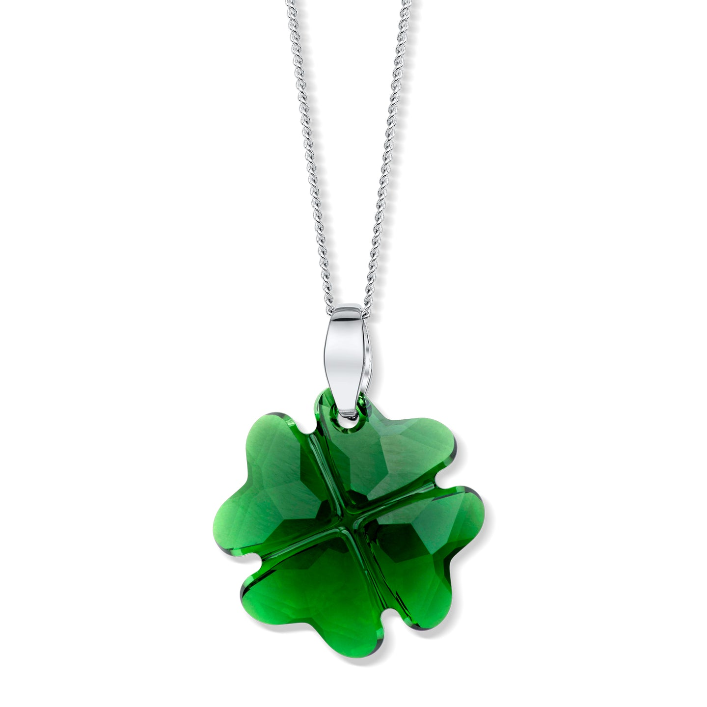 Emerald Crystal Four-leaved Clover Pendant - Large