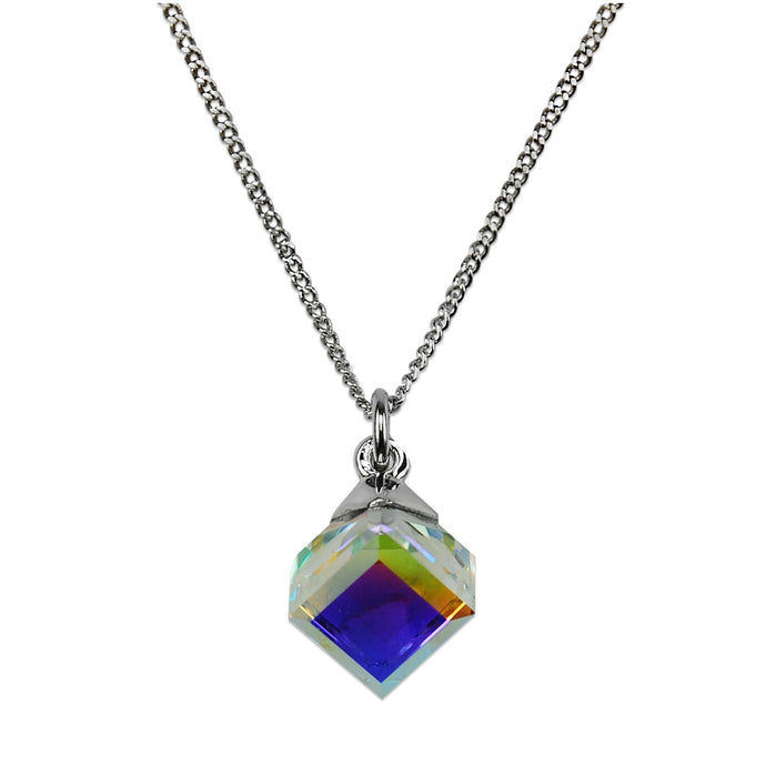 Cube Pendant with Aurora Borealis Crystal