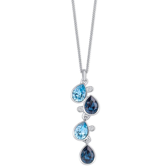 Celtic Dew Drops Crystal Pendant - Multi Blue