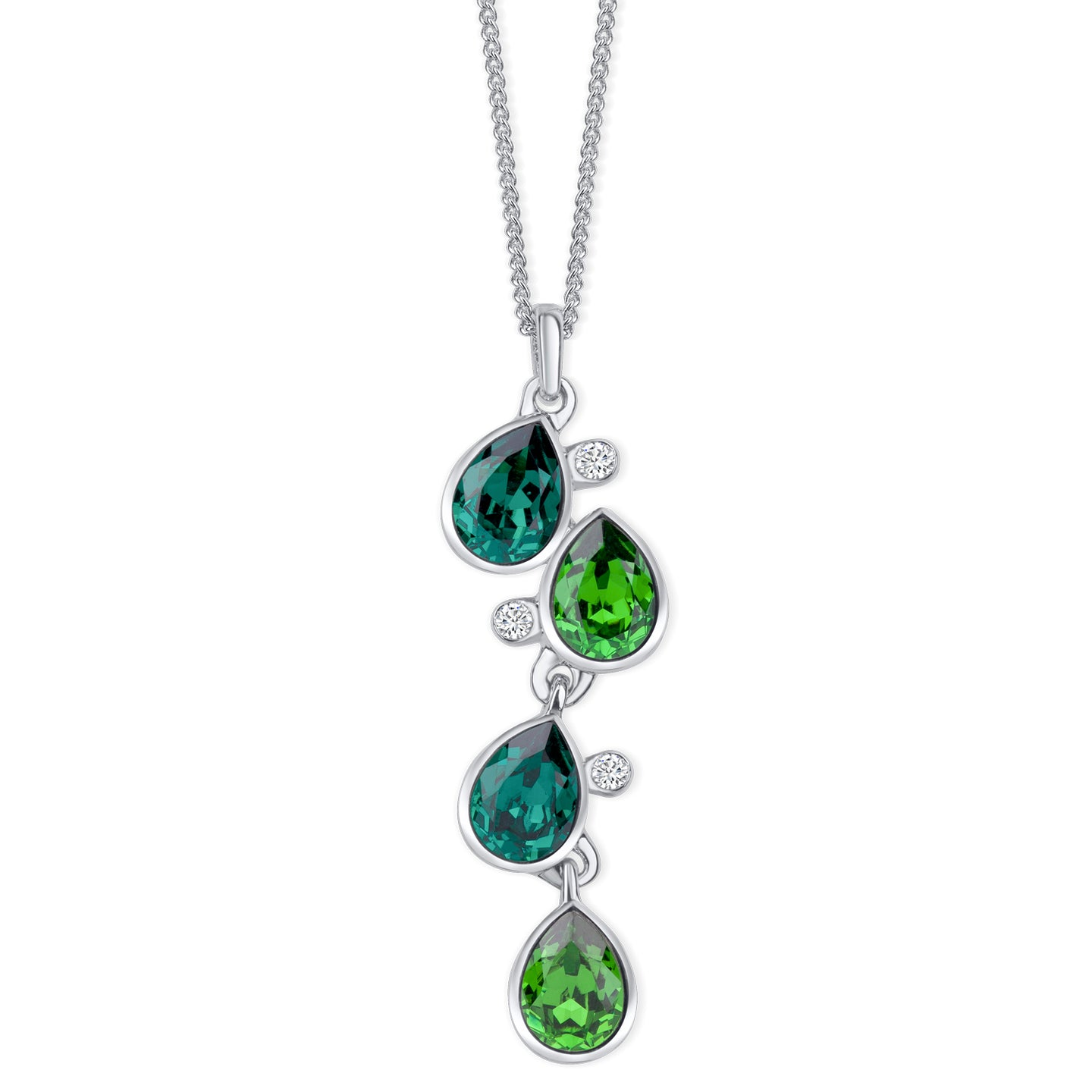 Celtic Dew Drops Crystal Pendant - Multi Green