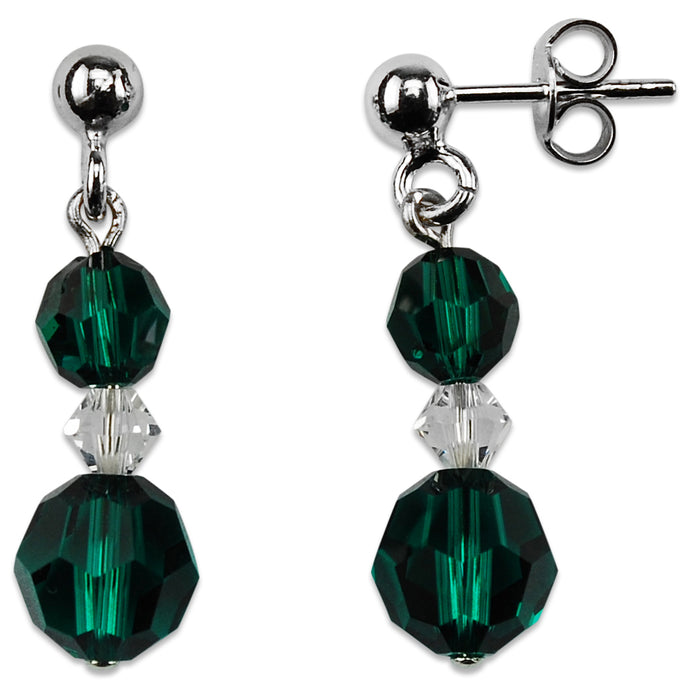 Crystal and Emerald Drop Earrings