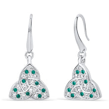 Load image into Gallery viewer, Trinity Knot Emerald Crystal Earrings