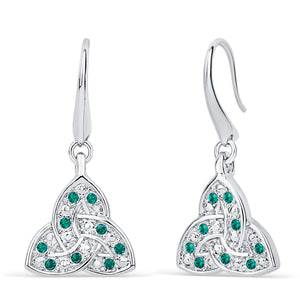 Trinity Knot Emerald Crystal Earrings