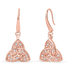 Load image into Gallery viewer, Trinity Knot Rose Gold Crystal Earrings