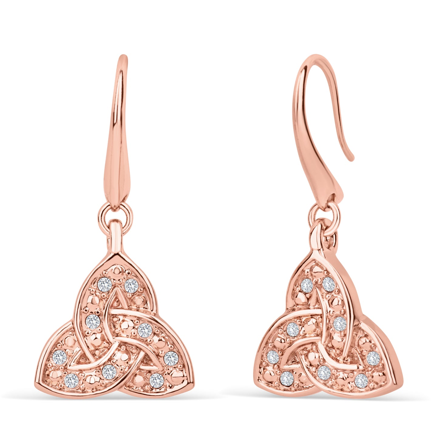 Trinity Knot Rose Gold Crystal Earrings