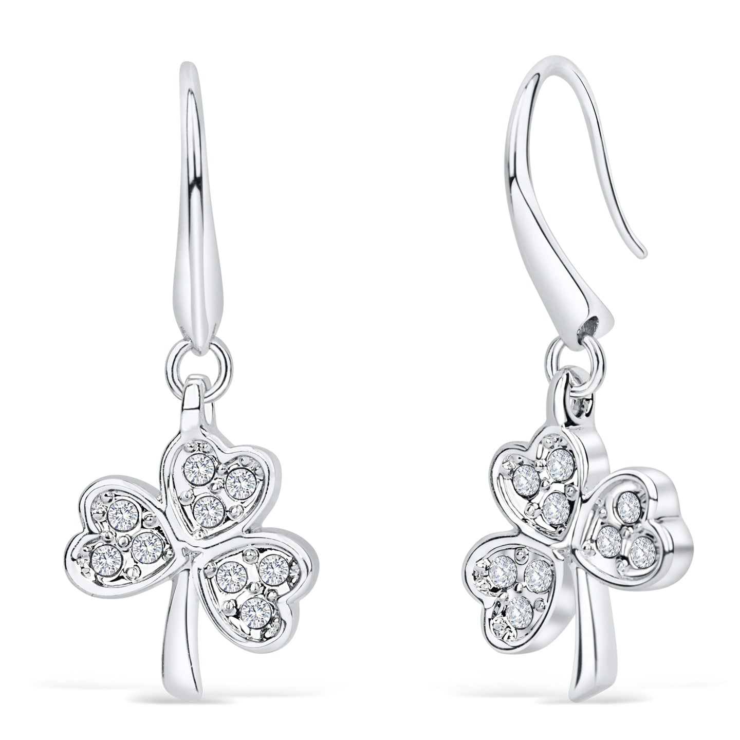 Shamrock Earrings with Clear Crystal