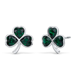 Shamrock Earrings with Emerald Green Crystals