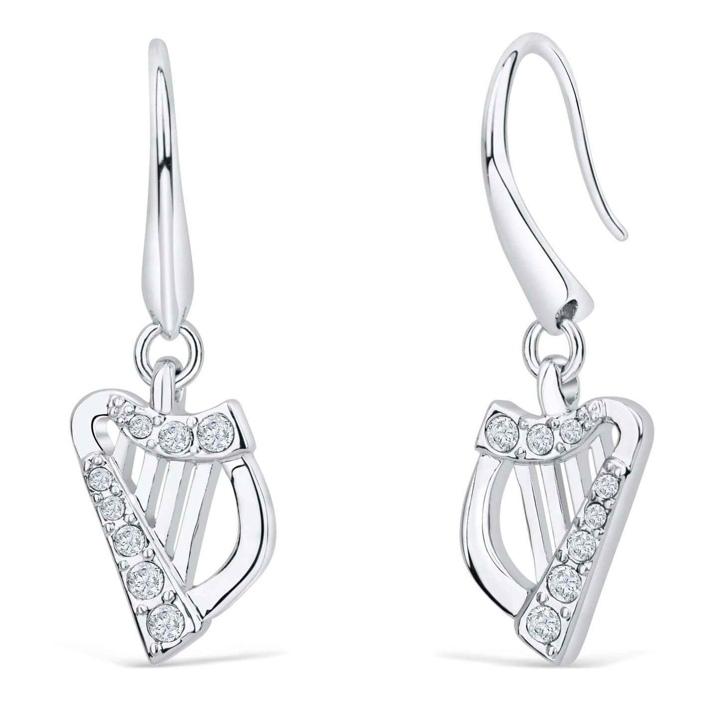 Harp Earrings with Clear Crystals
