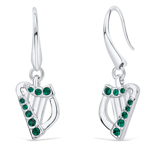 Harp Earrings with Emerald Crystals
