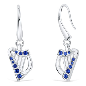 Harp Earrings with Sapphire Crystals