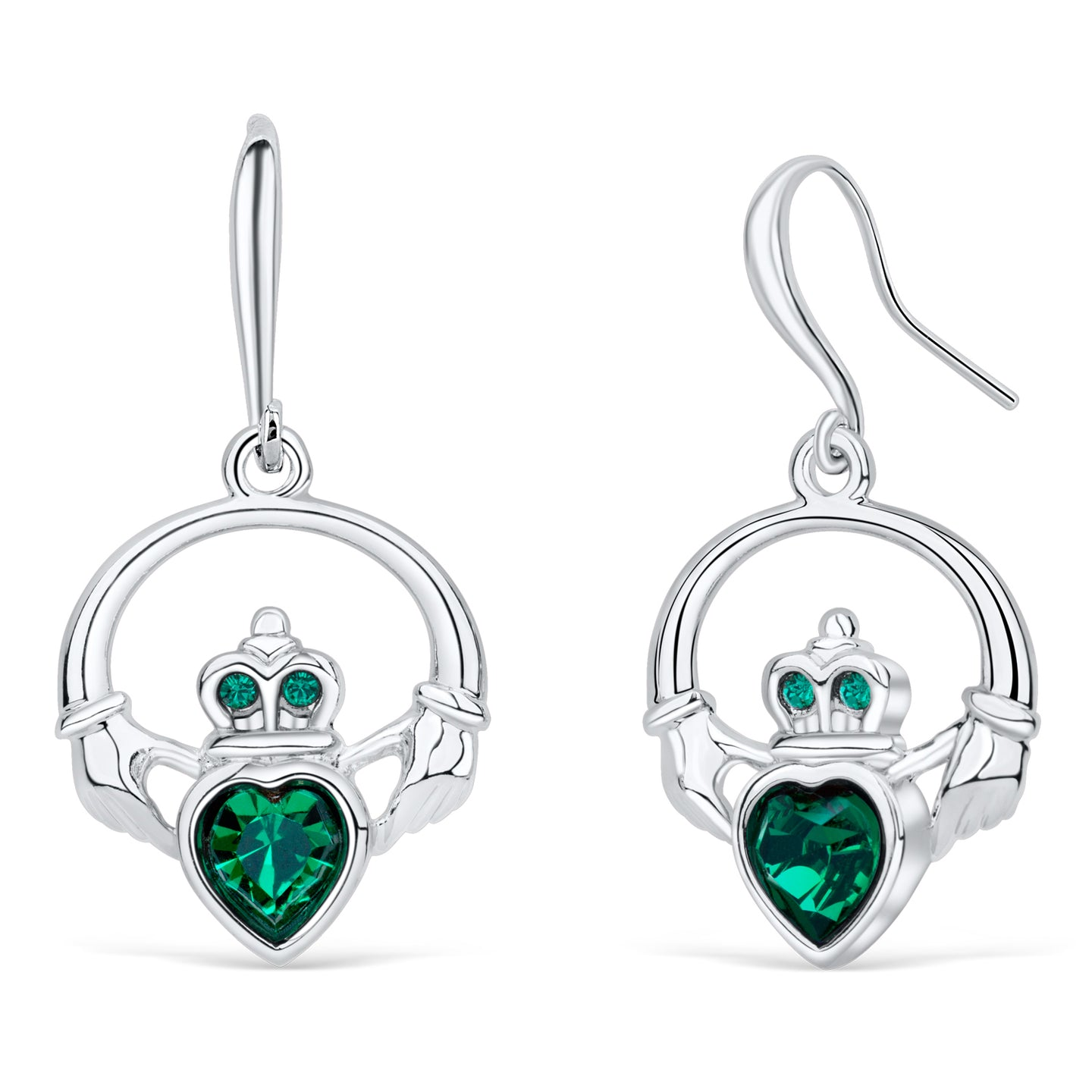 Claddagh Ring Earrings with Emerald Crystal