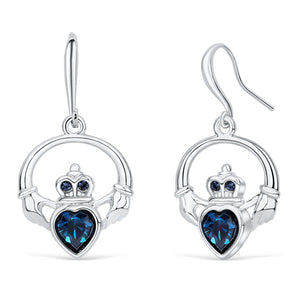 Claddagh Ring Earrings with Blue Crystal