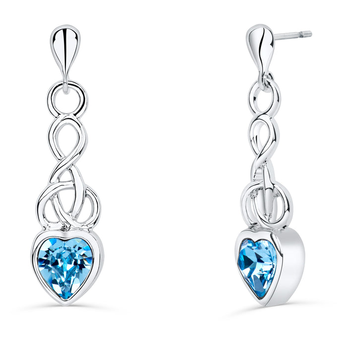 Celtic Heart Earrings with Aquamarine Crystal
