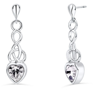 Celtic Heart Earrings with Clear Crystal