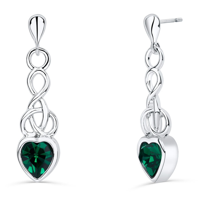 Celtic Heart Earrings with Emerald Crystal