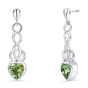 Celtic Heart Earrings with Peridot Crystal
