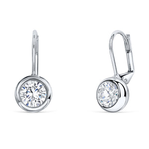 Solitaire Round Bezel Lever Back Earrings