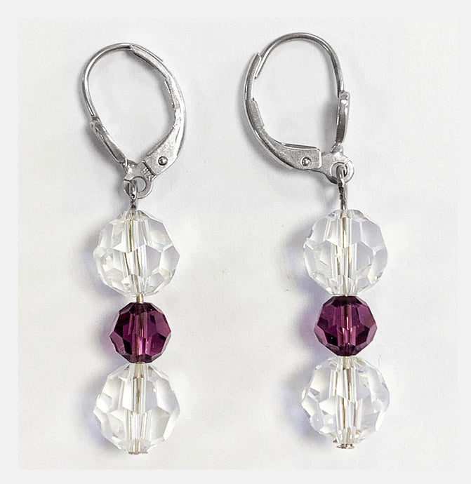 Crystal and Amethyst Drop Earrings