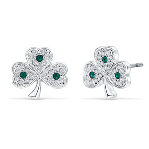 Shamrock Post Earrings with Emerald Crystal