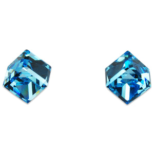 Crystal Cube Earrings - AQUA