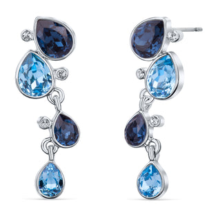 Celtic Dew Drops Crystal Earrings - Multi Blue
