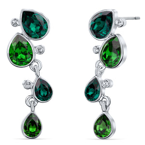 Celtic Dew Drops Crystal Earrings - Multi Green
