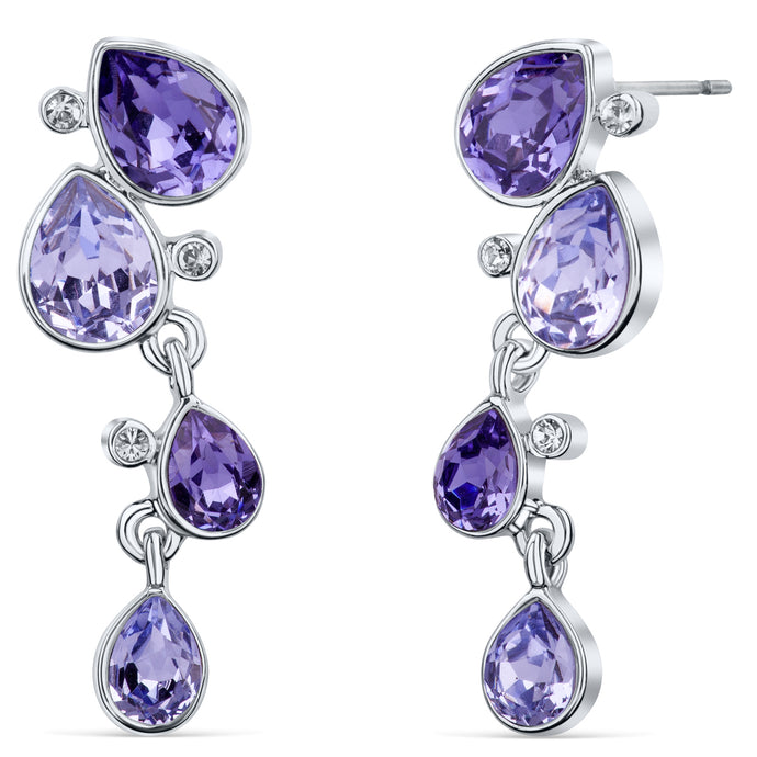Celtic Dew Drops Crystal Earrings - Multi Purple