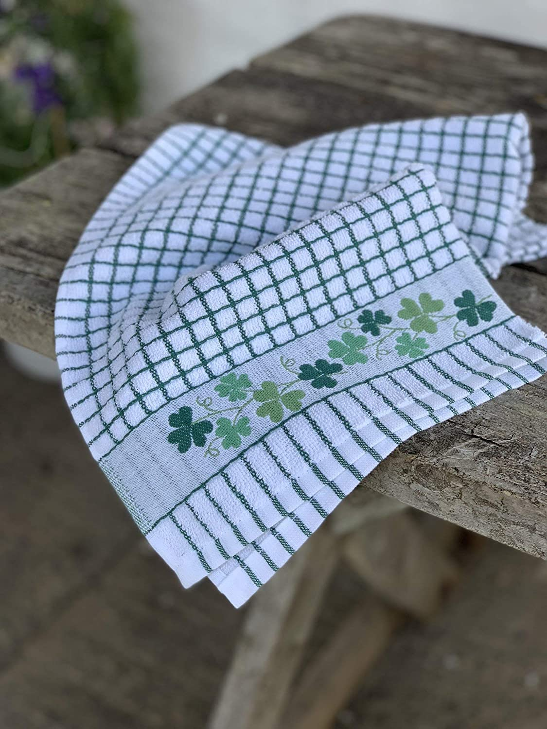 Poly-dri Jacquard Towel with Shamrock Design
