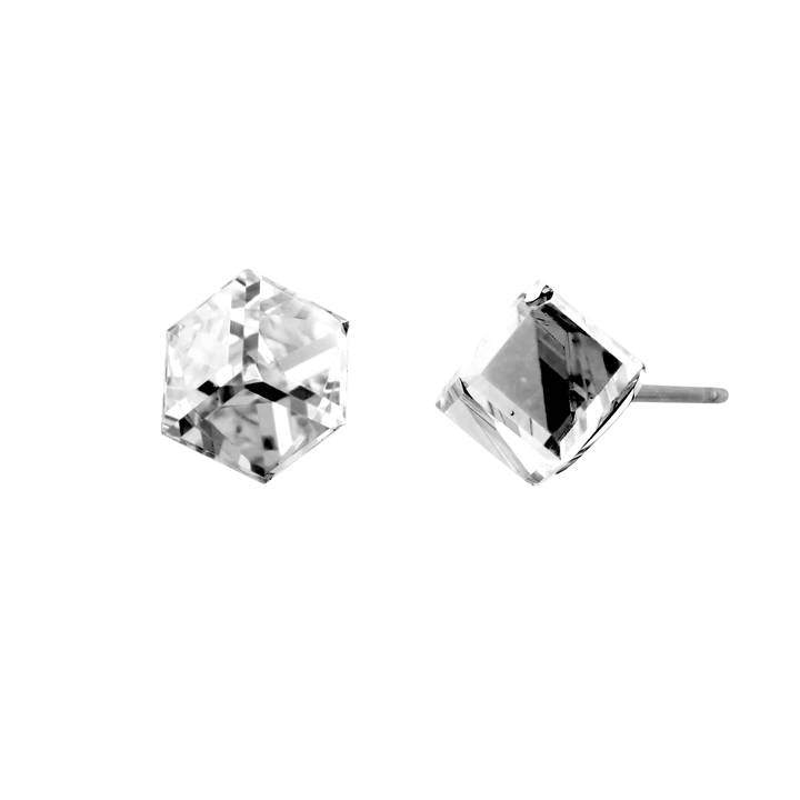 Crystal Cube Post Earrings
