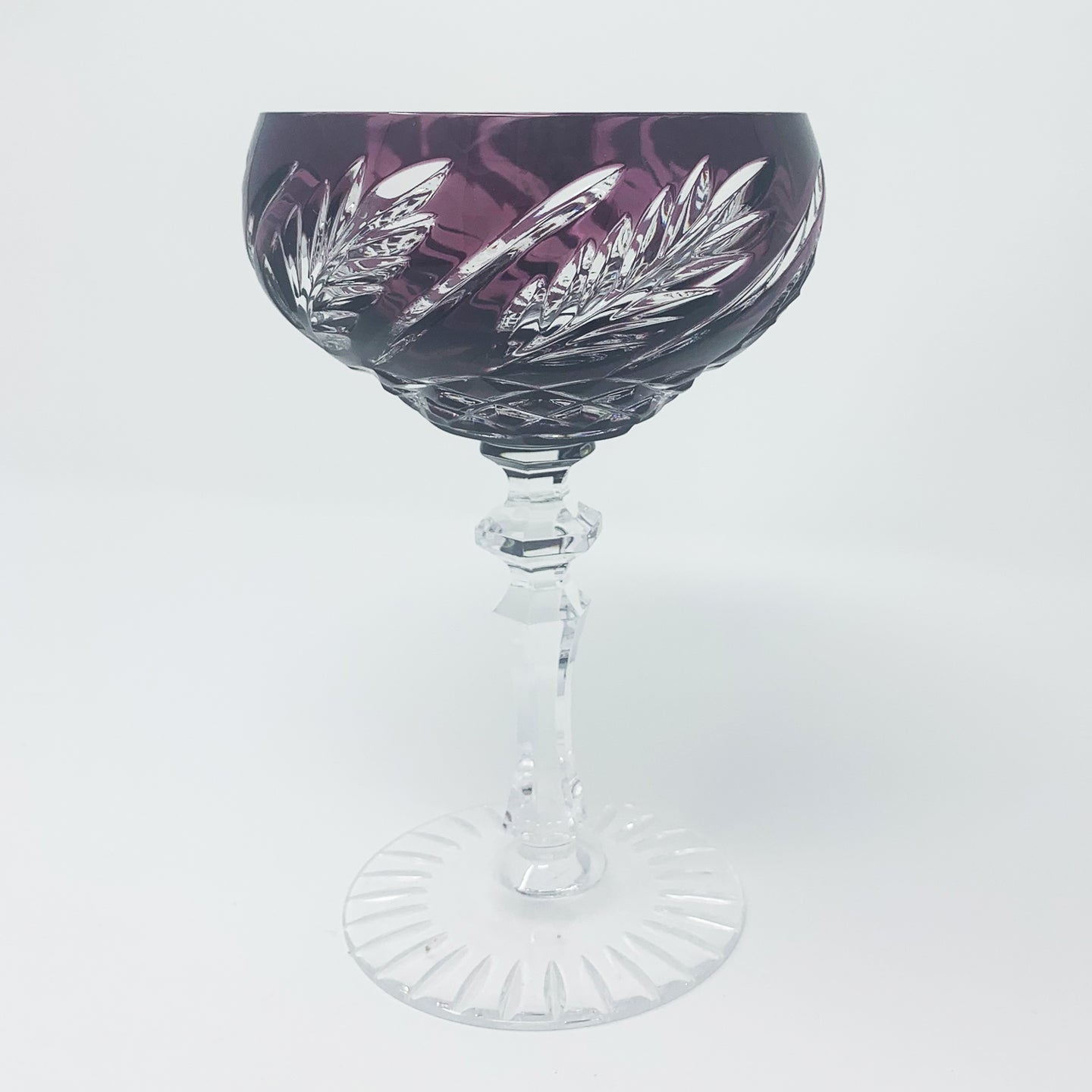 Amethyst Wheat Saucer Champagne Glass