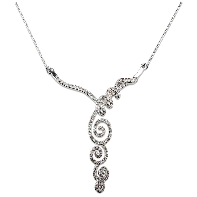 Triple Spiral 'Elegance' Crystal Necklace