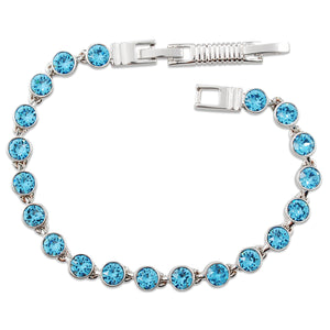 Aquamarine Crystal Tennis Bracelet (Small)