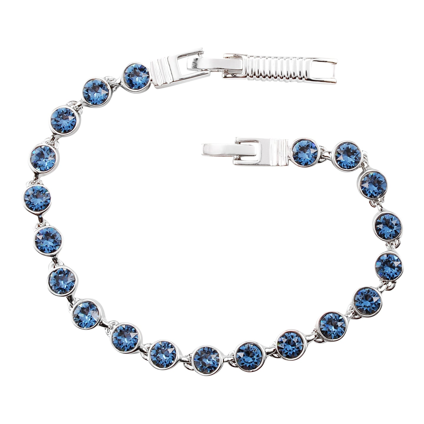 Denim Blue Crystal Tennis Bracelet (Small)
