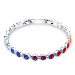 Rainbow Crystal Tennis Bracelet (Small)