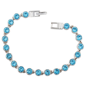Aquamarine Blue Crystal Tennis Bracelet