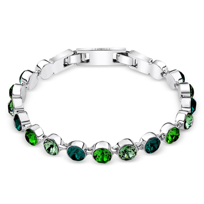 Multi-Green Crystal Tennis Bracelet
