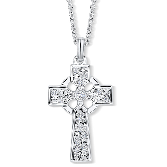 Celtic Cross Pendant set with Clear Crystals