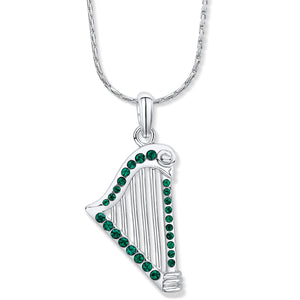 Harp Pendant with Emerald Crystals - Large
