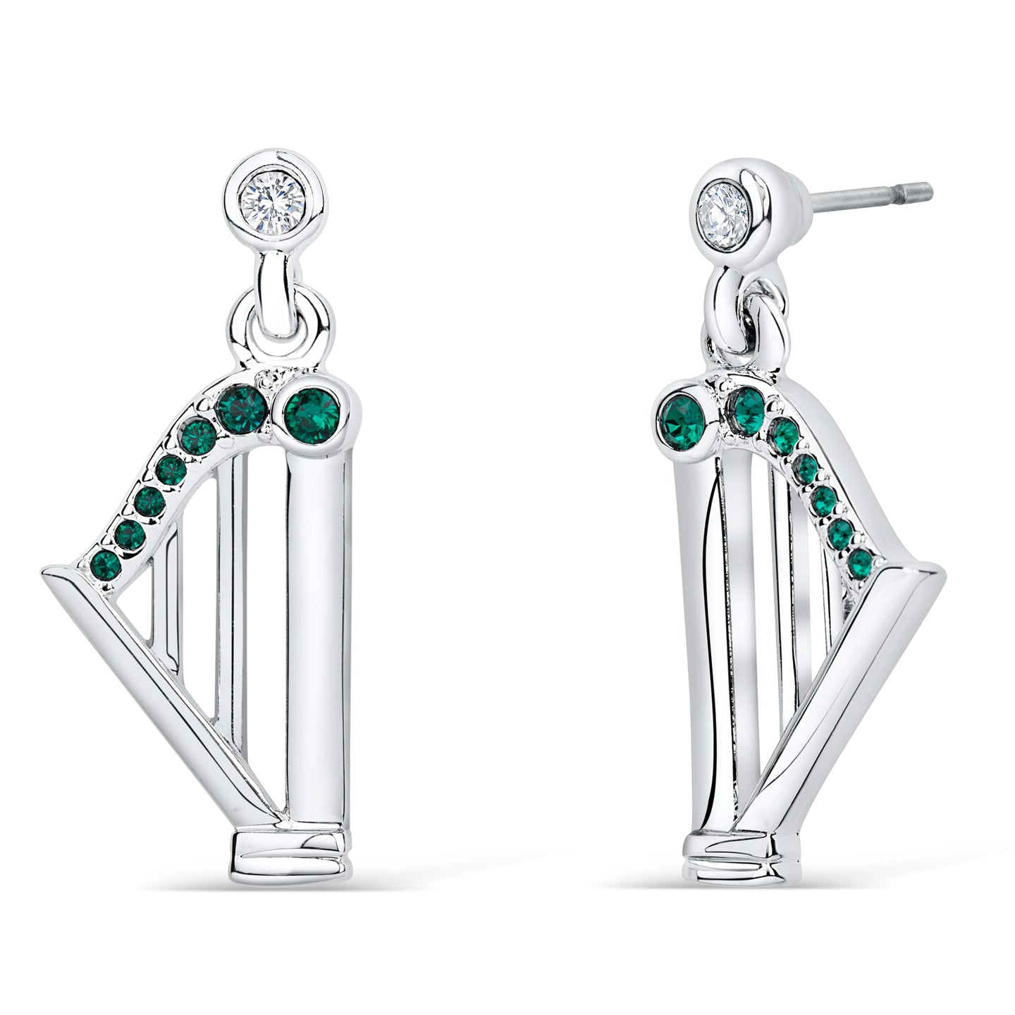 Harp Earrings with Emerald Crystals - Large